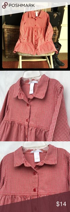 Red Gingham Dress Adorable gingham dress by Janie and Jack in size girl's 3T. Really nice vintage red color.  Buttons down the front and at the cuffs. 2 Front patch pockets. Excellent condition apart from some slight yellowing in a small spot on the upper middle front, not noticeable but wanted to disclose Janie and Jack Dresses Casual