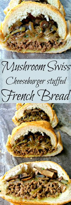Mushroom Swiss Cheeseburger stuffed French Bread ~ Sautéed mushrooms and onions layered on lean ground beef smothered in Swiss cheese stuffed inside a loaf of French Bread. ~ The Complete Savorist