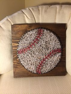 Baseball string art (sports, ball, nail, thread) - Order from KiwiStrings on Etsy ( http://www.KiwiStrings.etsy.com )