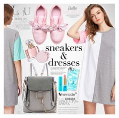 """Sporty Chic: Sneakers and Dresses"" by vanjazivadinovic ❤ liked on Polyvore featuring Tiffany & Co., Casetify, Guerlain, tarte, Sheinside, polyvoreeditorial and SNEAKERSANDDRESSES"