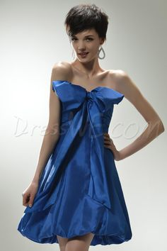 Unique Royal Blue Strapless MiniStraplessShort-Length Bowknot HomecomingMiniParty Dress,75.99,