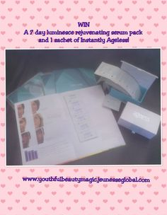 """Free Giveaway: 7 day Jeunesse Luminesce rejuvenating serum trial and an Instantly Ageless sachet    Enter Here: http://www.giveawaytab.com/mob.php?pageid=<a href=""""tel:944520548921295"""">944520548921295</a>"""