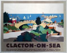London North Eastern Railway LNER travel poster advertising rail services to the South East Englands Essex resort of Clacton-on-Sea Artwork by John Posters Uk, Train Posters, Railway Posters, Cool Posters, Poster Prints, Art Prints, Beach Posters, England Travel Poster, Beautiful Posters