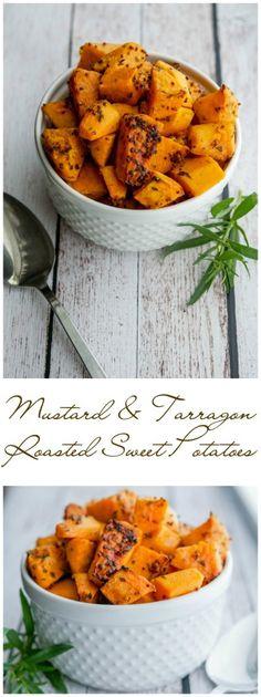 Mustard & Tarragon Roasted Sweet Potatoes collage