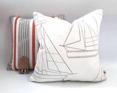 Boat Fabric Sailing Boat Cushion Boat Cover Stripe Cushions, Coastal Cushions, Sailing Boat Cover Beach Cushion Sofa Cushions Nautical Cushions, Striped Cushions, Printed Cushions, Blue Pillows, Cushions On Sofa, Nautical Theme Decor, Seaside Decor, Cushion Pads, Cushion Covers