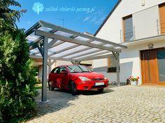 Drewniana wiata garażowa z transparentnym dachem Pergola, Outdoor Structures, Carriage House, Outdoor Pergola