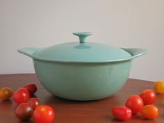 Large Vintage Findlay Enameled Cast Iron Casserole with Lid - Turquoise Findlay Canada Ironware - 1960s Green Blue Enamel on Cast Iron by EightMileVintage on Etsy