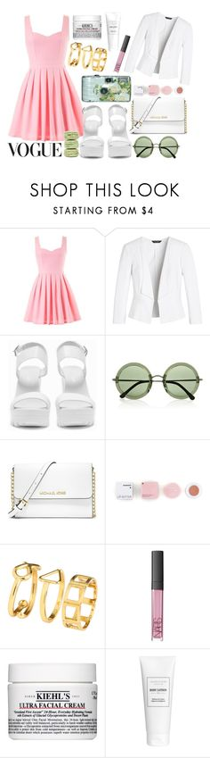 """Romantic date"" by lauraseidlova ❤ liked on Polyvore featuring White House Black Market, Nly Shoes, Ladurée, The Row, MICHAEL Michael Kors, Korres, WALL, H&M, NARS Cosmetics and Kiehl's"
