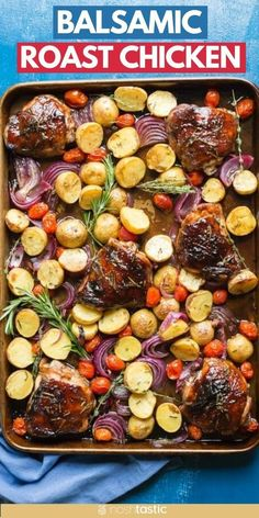 Roasted Balsamic Sheet Pan Chicken, gluten free and clean eating recipe. with red onions, potatoes, and fresh herbs. www.noshtastic.com