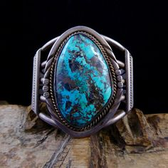ON HOLD 4 Lori: 107g Vintage Navajo Sterling Silver Cuff Bracelet w Beautiful Blue Bisbee Turquoise! Fabulously Large! Totally Gorgeous!