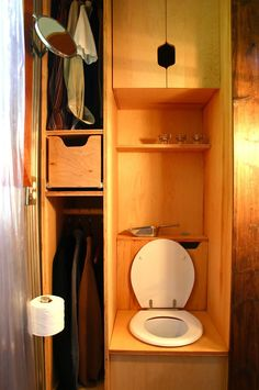 Tall Man's Tiny House - Bathroom      interesting toilet...  - To connect with us, and our community of people from Australia and around the world, learning how to live large in small places, visit us at www.Facebook.com/TinyHousesAustralia