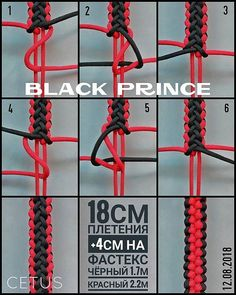 from - Black prince/Черный принц. Paracord Tutorial, Paracord Bracelet Instructions, Paracord Bracelet Designs, Paracord Bracelets, Bracelet Tutorial, Paracord Weaves, Paracord Braids, Parachute Cord Crafts, Weaving