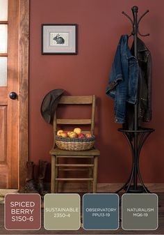 Harvest Colors laundry/mudroom Long walks in the woods in late autumn show an abundance of chocolate brown, mushroom gray, spiced orange, and wine red. Take inspiration from the outdoors to make over your entryway with these deep BEHR paint colors. Behr Paint Colors, Kitchen Paint Colors, Room Paint Colors, Interior Paint Colors, Paint Colors For Living Room, Interior Design, Rustic Paint Colors, Cabin Paint Colors, Red Kitchen Walls