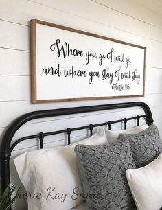 Wonderful Framed Sign | Where You Go I Will Go | Bedroom Wall Decor | Wood Signs