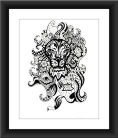 """Lion Leo Birthday Zentangle 8"""" x 10"""" Horoscope Zodiac Sign Lion Art Astrology Poster Art. Astrology Poster Art Print, Zentangle Print of a Lion, Leo Horoscope Sign, Zodiac Sign of Leo in Black and White. This is an 8"""" x 10"""" Print on white acid-free card stock. Frame and matting are not included."""