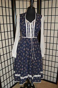 Vintage Gunne Sax Blue & White Floral Corset Tie Knee Length Dress- Very Pretty, $79 including shipping