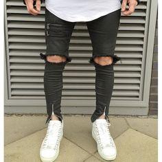 Genou zipper Hommes Jeans De Mode Hip Hop Urbain pour Hommes Moto Pénible Biker Slim Skinny Jeans Dé Mens Slim Ripped Jeans, Ripped Knee Jeans, Jeans Skinny, Destroyed Jeans, Distressed Skinny Jeans, High Jeans, Black Jeans, Denim Men, Denim Pants