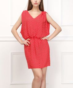 Look at this Reborn Collection Red & White Polka Dot Blouson Dress on #zulily today!