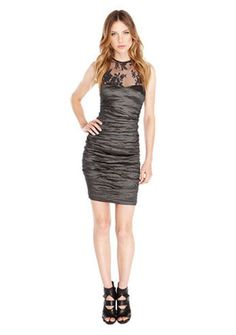 $465 Nicole Miller Techno Metal Illusion Lace Ruched Sheath Dress