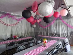 Bridal Shower in Garage. plastic tablecloths hung on walls, lanterns hung. looked amazing! Pink and Gray Chevron!