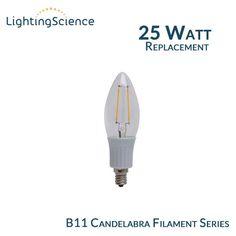 Lighting Science B11 Filament Candelabra - E12 Base - 25 Watt Equal - 2700K