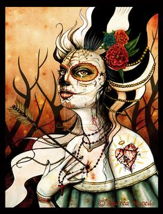 Day of the Dead Dia Day los Muertos sugar skull face paint Halloween tattoos arrow through the heart Sugar Skull Girl, Sugar Skulls, Day Of The Dead Artwork, Heart Poster, Grunge Art, Zombie Girl, Sugar Skull Tattoos, Bride Of Frankenstein, Skull And Bones