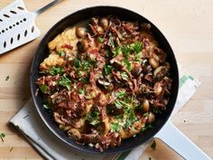Chicken Marsala - Tyler Florence cooks cremini mushrooms and prosciutto strips in the same skillet that the chicken is cooked in, to keep the brown bits and caramelized pieces of the chicken in the overall dish.
