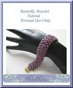SuperDuo Beading Tutorial instructions patterns- PDF download- Butterfly/bracelet