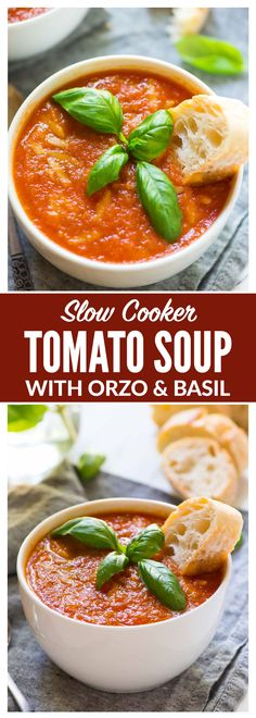 Healthy Crock Pot Tomato Soup with Orzo and Basil – Rich, comforting, and low calorie! Simple slow cooker recipe that takes less than 10 minutes to prep. One of the best easy comfort foods! {vegan} Recipe at wellplated.com | @wellplated
