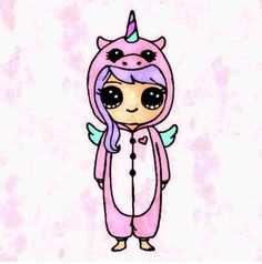 kawaii girl drawing in onsie Kawaii Disney, 365 Kawaii, Cute Kawaii Girl, Kawaii Art, Kawaii Girl Drawings, Disney Drawings, Real Unicorn, Cute Unicorn, Chibi Unicorn