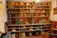 Primitive style Buttery Cabinet Open Shelves