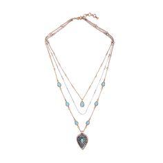 Vintage 3 Row Detachable Chain Long Necklace 2017 New Blue Stone Waterdrop Pendant Necklace Wholesale