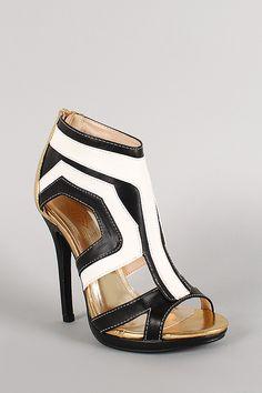 Tricolor Leatherette Cut Out Open Toe Heel