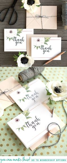 Download and print pretty anemone wedding thank you cards - Lia Griffith - www.liagriffith.com