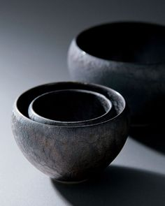 Ceramic set of bowls by maebata, japan 炭彩 : tansai