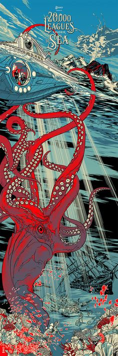 """Illustration by Martin Ansin Leagues Under the Sea"""" // Jules Verne 1870 - Disney 1954 Expo Disney, Disney Shows, Disney Art, Walt Disney, Omg Posters, Disney Posters, Movie Posters, Leagues Under The Sea, Wow Art"""