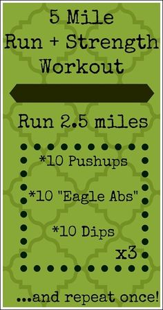 5 Mile Run   Strength Workout   (click through to the blog to get a photo-by-photo description of the