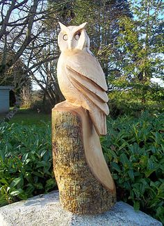 Chainsaw Carving, Fear na Coillte, commission, chainsaw sculpture, ireland, tree, owls