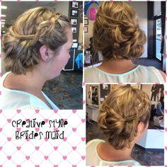 Inspiration by Hannah Kerney from Everett Community College Cosmetology. Wedding hair for a bridesmaid #bridesmaid#weddinghair  @bloomdotcom