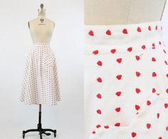 40s Skirt Cotton Hearts XS / 1940s Vintage Skirt by CrushVintage