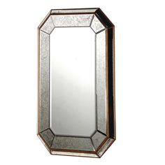 This rectangle mirror is promoted to a whole new level of style thanks to the gorgeous antique glass frame with mitred edges. The angles of the corners make it visually appealing and the metal trim and use of the glass make this a highly desirable mirror. Sizes:- 120 x 80 cm