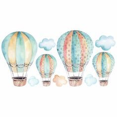 Air Balloon, Balloons, Baby Boy Background, Baby Box, Nursery Themes, Cute Illustration, Watercolor Art, Printables, Monet