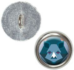 Fancy and Decorative {16mm w/ 1 Back Hole} 4 Pack of Medium Size Round 'Alpha Shank' Sewing and Craft Buttons Made of Genuine Metal w/ Cool Geometric Safari Rhino Design {Silver, Blue, Gray and Orange} ** You can find out more details at the link of the image.