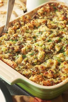 Classic Sage and Sausage Stuffing (Dressing) Recipe - - Our traditional sausage and sage Thanksgiving stuffing owes its perfect texture to oven-dried bread, which soaks up a rich base of eggs, broth, and butter. Stuffing Recipes For Thanksgiving, Thanksgiving Side Dishes, Best Stuffing Recipe, Thanksgiving Dressing Recipe, Christmas Stuffing, Traditional Thanksgiving Recipes, Thanksgiving Drinks, Thanksgiving Appetizers, Thanksgiving Turkey