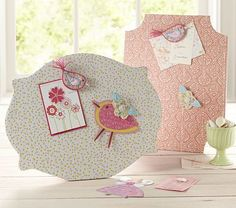 Crafty Magnet Board & Magnets  - Looks like metal covered with cloth and then felt and fabric magnets.