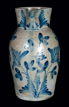 "Hugh Charles Smith (1804-1854) - Pitcher. Salt-Glazed Stoneware with Cobalt Floral Decorations. Stamped ""H.C. SMITH / ALEXA. / DC"". Alexandria, Virginia. Circa 1831-1836."
