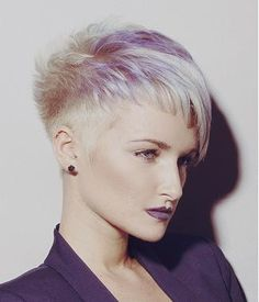 A Short Blonde straight coloured multi-tonal spikey womens office haircut very-short hairstyle by Syran John Hairdressing