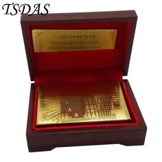 24K 999.9 Gold Plated Playing Card Euro 500 In Red Box Poker Deck 99.9% Gold Foil Cards Hot Sale in 2016