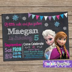 Frozen Birthday Invitation Chalkboard Chalk Girls Cute Ana & Elsa Colorful Custom Printable Personalized Invite Any Age Baby 1 2 3 4 5 6 7 8