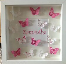 Items similar to Personalised Box Picture Frame Wedding Christening Butterflies Pink Purple Black/Silver Gift Christmas on Etsy Box Frame Art, Box Picture Frames, Wedding Picture Frames, Wedding Frames, Box Art, Diy Shadow Box, Shadow Box Frames, Butterfly Wall Art, Butterfly Crafts
